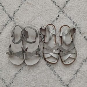 Two pairs of Silver Colored Salt Water Sandals!